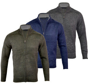Mens Full Zip Collared Knitted Cardigan Winter Warm Top M-XXL