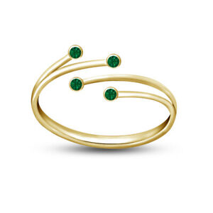 14K Yellow Gold Over Green Sapphire Double Row Bypass Style Adjustable Toe Ring