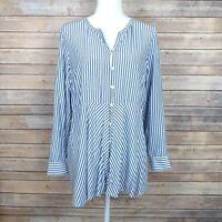 J. Jill Womens Top Long Sleeve Button Front Blue Stripe Tunic Size Medium