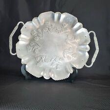Vintage Aluminum Round Tray Platter Leaf Design Handles Raised Rose Design Tray