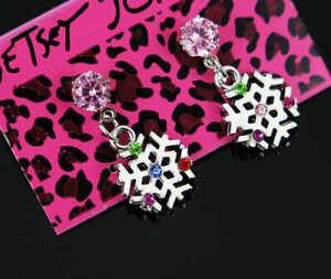 New Betsey Johnson Fashion Cute snowflake Women's pink crystal Stud Earrings