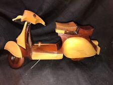 "Vintage Miniature Wooden 10"" Vespa Scooter w/ Wood Wheels, Shelf Display, Gift"