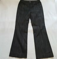 ESCADA Sz 10 US/40 Denim Jeans Womens Black Gray Striped Boot Cut Jeans Designer
