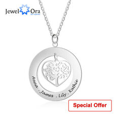 Personalized Tree of Life Engrave Name Necklace Silver Pendant Chain Family Gift