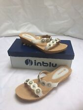 Ladies Inblu Slip on Sandal White with Gemstoned Straps sz 40/ 7