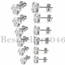 6Pairs Stainless Steel Cubic Zirconia Round Cut Men Women Stud Earrings 3mm-8mm