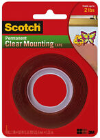 "Scotch Permanent Clear Mounting Tape 3M Double Sided Adhesive 1"" x 60"""