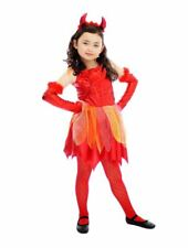 Girls Red Devil Demon Halloween Fancy Dress Costume Childrens Outfit Age 4-6