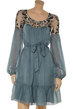 Alice By Temperley mini robe soie Antona cannelle mix taille uk 8 rrp £ 625