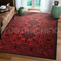 Darya Afghan Traditional Red And Black Modern Floor Rug - 5 Sizes *FREE DELIVERY