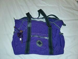 Kipling Purple Duffel Weekender Travel Tote Gym Bag Pre-Owned