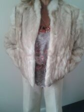 stylish classy vintage beautiful fur coat, size 12 cream and brown fur jacket