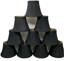 """Set Of 10 Black Mini Chandelier Clip Shades Bell Shaped Lined 4"""""""