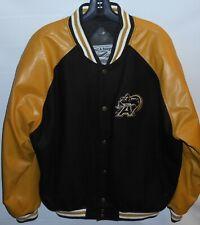 Steve & Barrys Army Varsity Jacket Black, Gold Wool Polyvinyl Mens Large