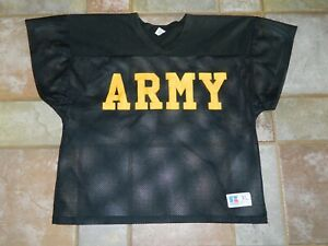 Vtg 80s Russell Athletic Army Crop Football Jersey Black & Yellow Mesh XL