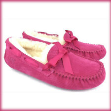 New Women UGG Shoes Slip On Exotic Hot Pink Dakota Bow Loafer Moccasin 8 6.5 39