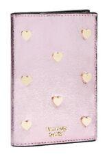 VICTORIA'S SECRET PINK POP HEART GOLD METALLIC PASSPORT COVER CASE WALLET CARD