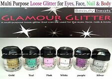 6 PCs Beauty Treats Multi-Purpose Loose Glitter for Eyes, Face, Nail & Body!