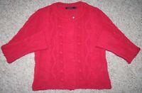 Luigi Bertolli Long Sleeve Women's Medium Red Snap Front Cardigan Sweater Top