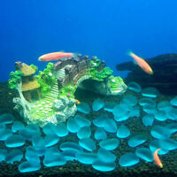 Aquarium Resin Bridge Landscape Fish Tank Ornaments Tree Pavilion Decoration