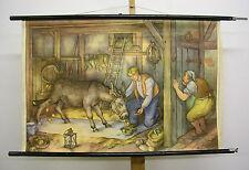 schönes Märchenbild Tischlein deck dich Goldesel streck dich 99x65 vintage~1955