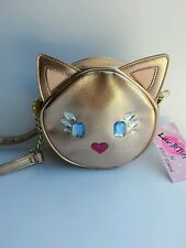 NWT Betsey Johnson Rose Gold Kitty Cat Crossbody Bag