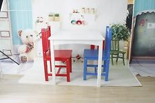 Kids Wooden White Table Desk And Chair Set For Study Home Work Writing Reading