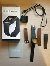Fitbit Versa Smartwatch - Black Large+Small & Leather Strap + Original Charger