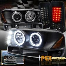 GMC SIERRA 1500/2500HD Halo Projector Black Headlight +Dark Smoke LED Tail Light