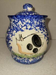 "Molly Dallas Signed Blue White Sugar Bowl With Lid Pig Spongeware Spatterware 5"""