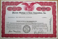 Phoenix Savings & Loan Association 1960 Bank Stock Certificate - Maryland MD