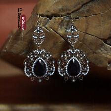 Boucles d'Oreilles Mini Perle Goutte Noire Poire Retro Soirée Mariage CC 1