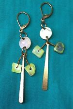Boho Gypsy Hippy Ethnic Lime Gem Mother Of Pearl Chip Copper Dangle Earrings