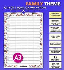 A3 2 3 4 5 Column / People Family Calendar Organiser Planner 2018 2019 2020