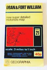 1960's Vintage Geographia Map 3 miles to 1 inch Sheet #21 OBAN & FORT WILLIAM