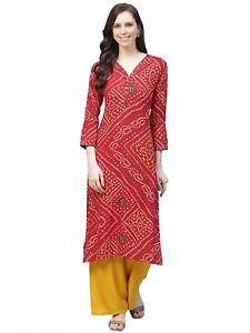 Indian Women Red & Off-White Bandhani Print Kurta Kurti Top Tunic Ethinc Style