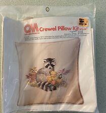 Columbia Minerva Crewel Embroidery Erica Wilson Designer Raccoon Pillow Kit 1976