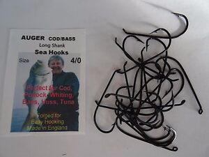 40 x Auger Cod/Bass 4/0 Long Shank Sea Hooks