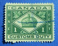 1912 1c CANADA CUSTOMS DUTY REVENUE VD # FCD1 B # 1 USED                 CS30140