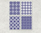6 x 4in Set of 4 NAVY WHITE MOROCCAN greek blue tile pattern wall art prints