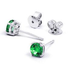 Emerald Stud Not Enhanced White Gold Fine Earrings