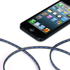 For iPhone 5 iPad Mini iPod 5 Naon 7 8 Pin Data USB LED Glow Blue Light Cable BK