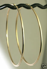 """Classic  2.4g Solid 14K Yellow Gold  ~2.5"""" Endless Hoop Earrings 60x2mm GORGEOUS"""