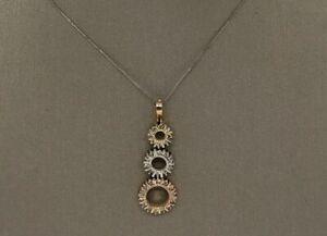 14k Multi-tone Gold Genuine Diamond Pendant