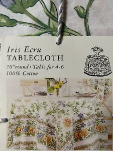 "April Cornell Winter IrIs ecru Floral Tablecloth Round 70"" French Country Floral"