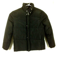 H&M Mens Black Puffer Jacket Coat - Size Large - 3 Pockets, Drawcord, Polyester
