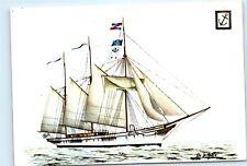 De La Maria Sail Boat old Ship Sails Anchor Historia del Mar 4x6 Postcard A40