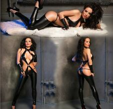 PVC nightclub Catsuit Sexy Catwoman Fancy Dress Bodysuit Jumpsuit Outfit 752 S-L