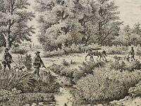 Charles Jean GROUX (1802-1865) Radierung 1860: 2 JÄGER AUF JAGD +BAUER mit PFERD