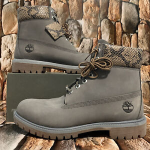 Timberland Men's Premium Waterproof Boot Medium Grey W Python A2HHZ Sz:8.5M